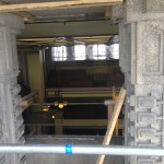 View from scaffold looking down to Unity Temple. Art glass and frame have been removed. Art glass will be packed and shipped to Los Angeles for restoration.